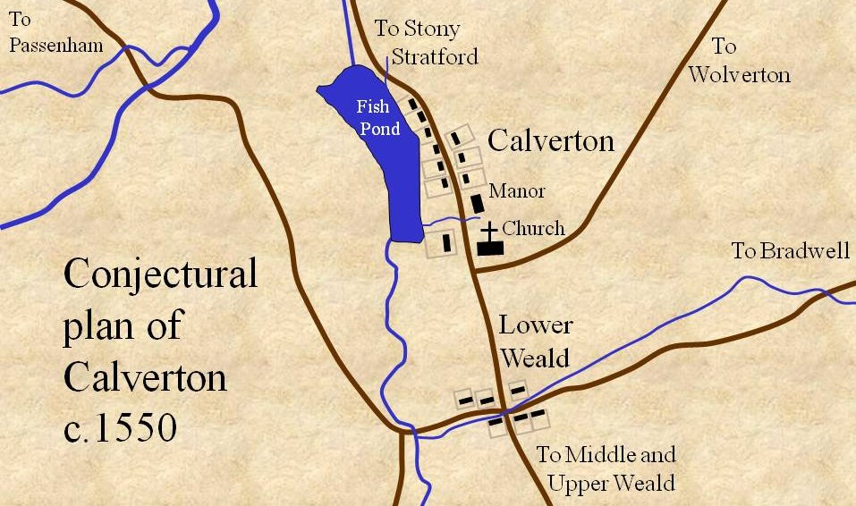 Plan of Calverton c. 1550