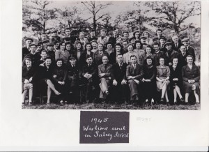 Workers from Hanslope village and others with RAF personnel at Salcey Forest depot, 1945