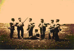 Soldiers of the 68th Regiment of Foot at Sebastopol in ordinary uniform