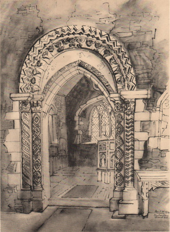 John Piper sketch of the Norman arch at St Peter's Church