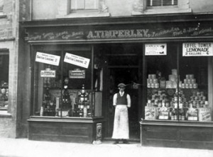 Arthur Timperley in the doorway of his grocery shop at No.1 Market Place c.1890 (Why not use Arthur Timperley to test the Person Search?)