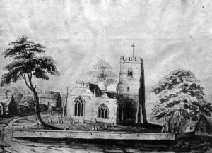 Drawing c1830 now in the collection of the Centre for Buckinghamshire Studies showing the church before restoration with neighbouring cottages.