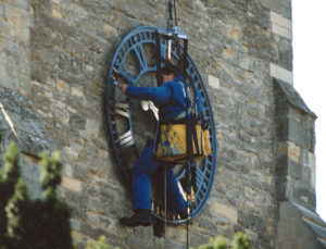 Clock face re-gilded in1996