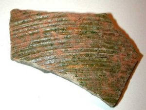 Mottled green glazed Potterspuryware 14-15th Cent