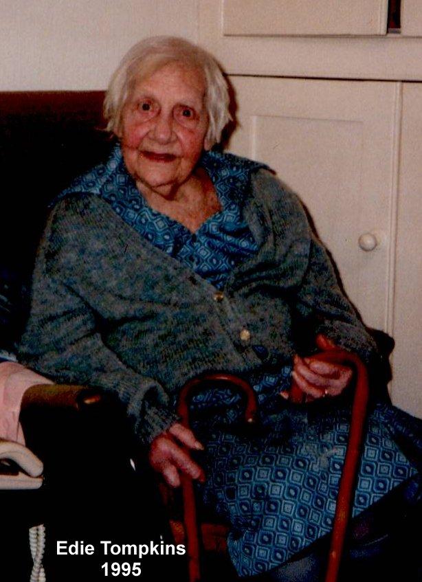 Edie Tompkins at home (56 Calverton Road) in 1995