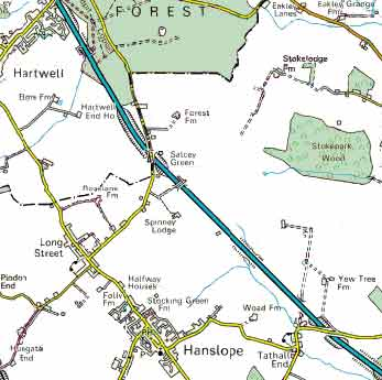 The current county boundary is shown by the black dot-dashed line. Salcey Forest once stretched to Hanslope village itself.