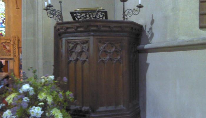 Wooden carved pulpit