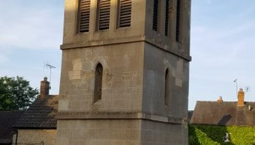 Photo of a very small church tower