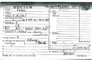 Peter Hooton - Registration Card ph