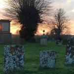 Sunset over graveyard
