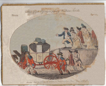 "Cruikshank's etching - ""Stage coach passengers passing the Wooburn Sands Dec. 17th, 1796"""