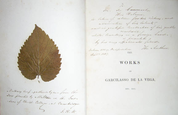 Inscription by Wiffen, and a leaf from Miltons Mulberry